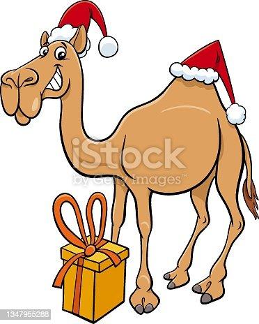 istock cartoon camel animal character with gift on Christmas time 1347955288