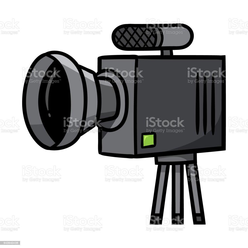 Cartoon Camera on Tripod vector art illustration