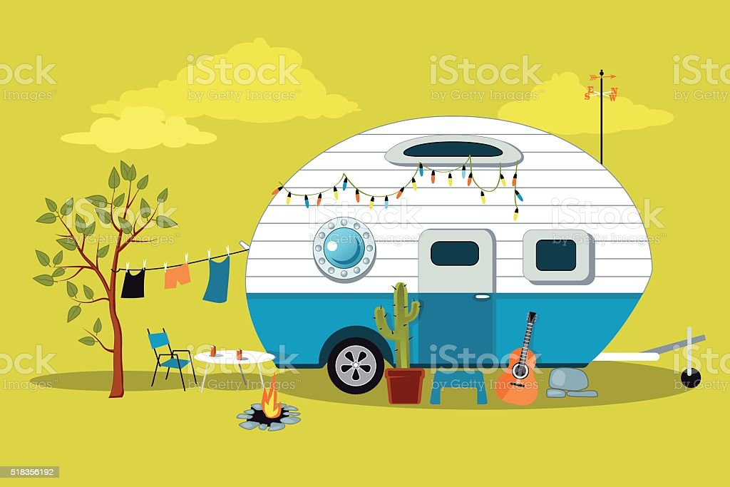 Cartoon camper vector art illustration