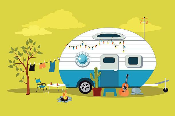 comic wohnmobil - campinganhänger stock-grafiken, -clipart, -cartoons und -symbole