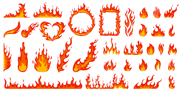 Cartoon campfire. Fire flames, bright fireball, heat wildfire and red hot bonfire, campfire, red fiery flames isolated vector illustration set