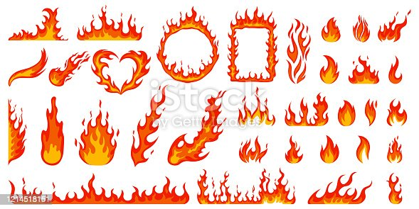 Cartoon campfire. Fire flames, bright fireball, heat wildfire and red hot bonfire, campfire, red fiery flames isolated vector illustration set. Animated form and square, fireball and flame