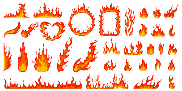 Cartoon campfire. Fire flames, bright fireball, heat wildfire and red hot bonfire, campfire, red fiery flames isolated vector illustration set Cartoon campfire. Fire flames, bright fireball, heat wildfire and red hot bonfire, campfire, red fiery flames isolated vector illustration set. Animated form and square, fireball and flame flame stock illustrations