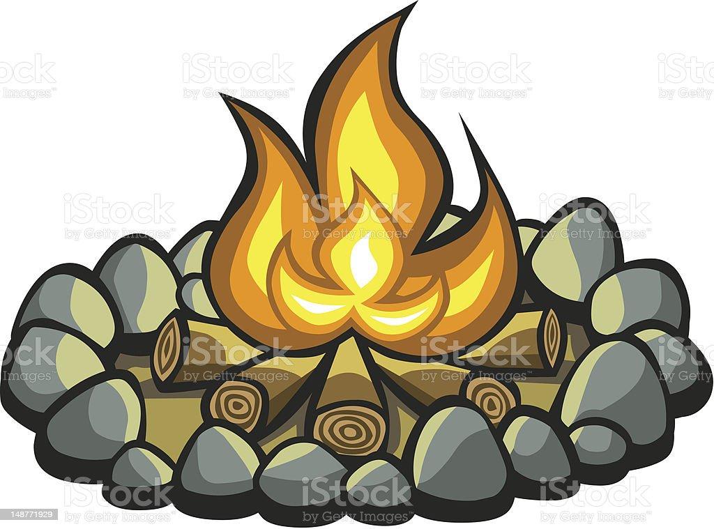Cartoon Campfire vector art illustration