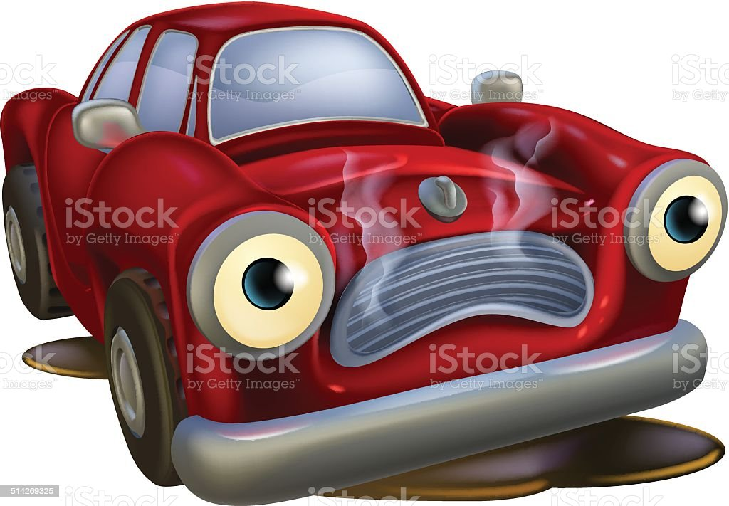 Cartoon car broken down vector art illustration