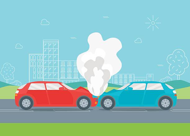 bildbanksillustrationer, clip art samt tecknat material och ikoner med cartoon car crash or accident. vector - krockad bil