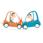 Vector cartoon car crash