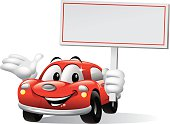 - cartoon illustration of car holding blank sign