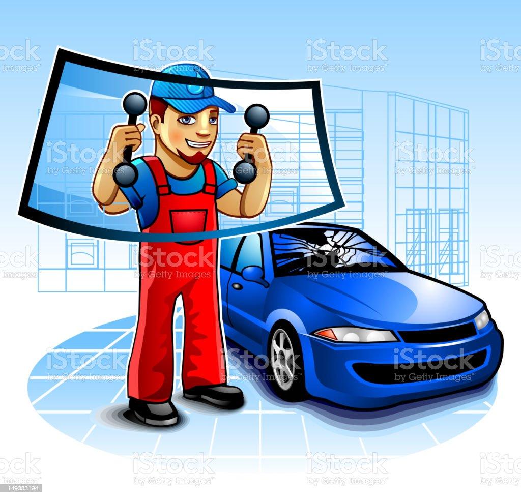 Cartoon Car Mechanic Replacing The Windshield Of A Blue