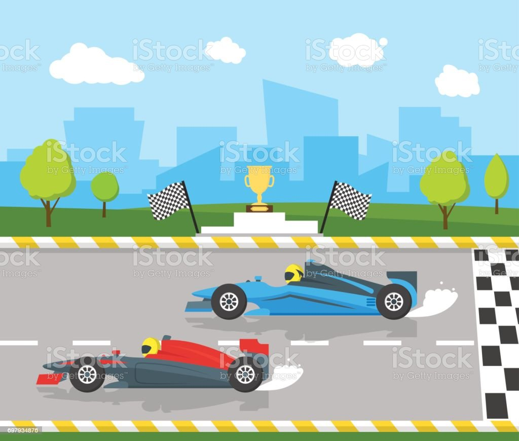 Cartoon Car Racing Sport Professional Competition. Vector vector art illustration