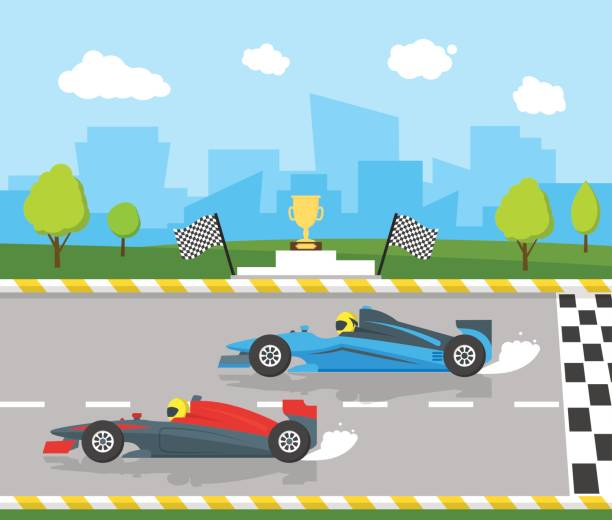 Cartoon Car Racing Sport Professional Competition. Vector Cartoon Car Racing Sport Professional Competition Flat Style Design Starting or Finishing Auto. Vector illustration auto racing stock illustrations