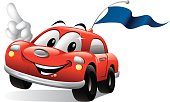 - cartoon illustration car racing