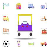 cartoon car smile toy colored icon. set of children toys illustration icons. signs, symbols can be used for web, logo, mobile app, UI, UX on white background