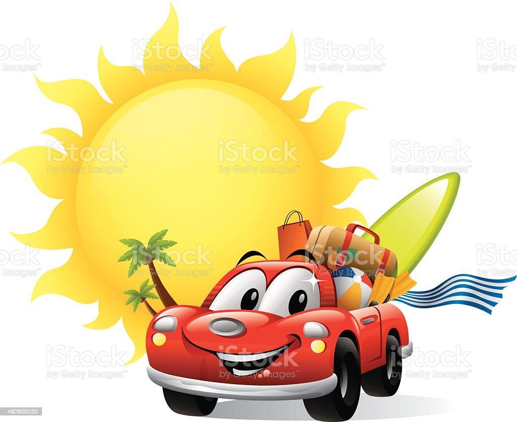 Cartoon Car - Summer Vacation vector art illustration