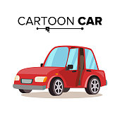 Cartoon Car Vector. Reg. Flat Style. Isolated On White Illustration