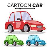 Cartoon Car Vector. Reg, Green, Blue. Flat Style. Isolated On White Illustration