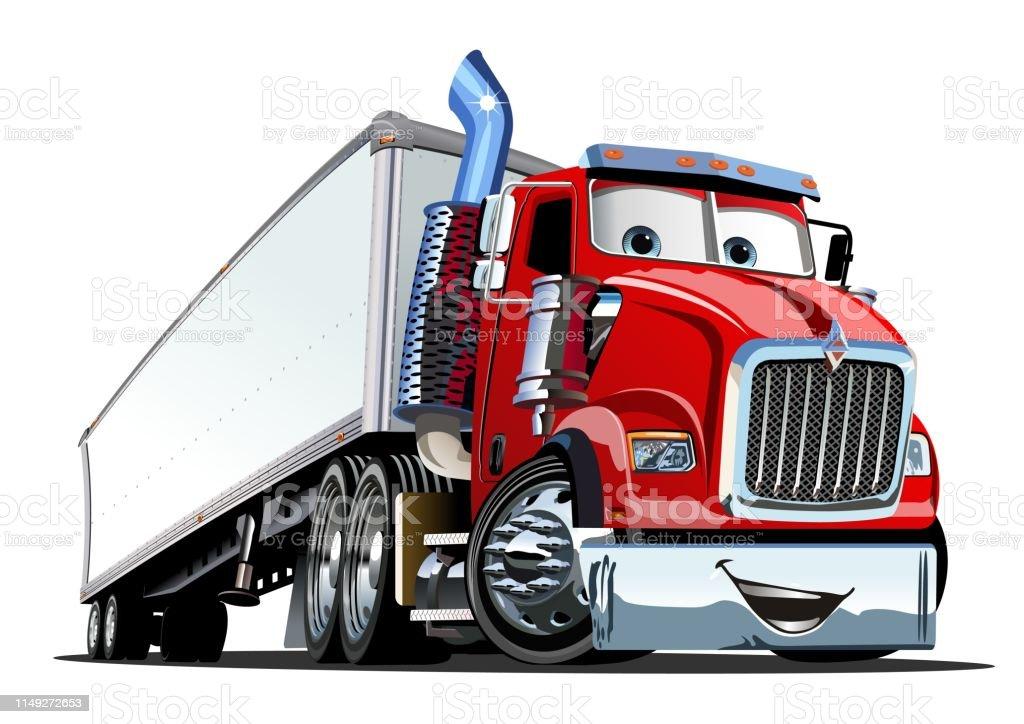 Cartoon Cargo Semi Truck Isolated On White Background ...