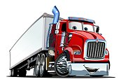 Cartoon cargo semi truck isolated on white background. Available EPS-10 format separated by groups and layers for easy edit