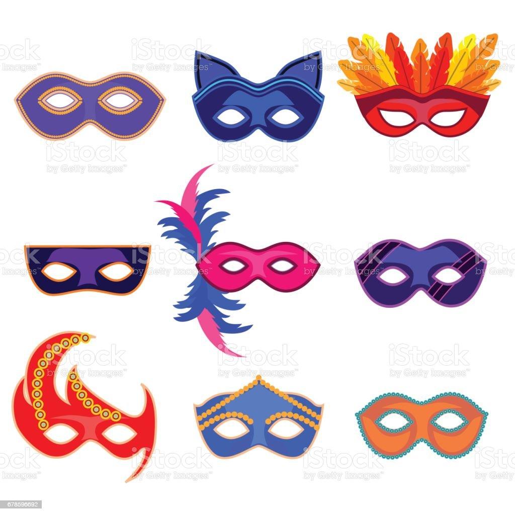 détaillant plutôt sympa sur des coups de pieds de Dessin Animé Carnaval Masque Couleur Icons Set Vector ...
