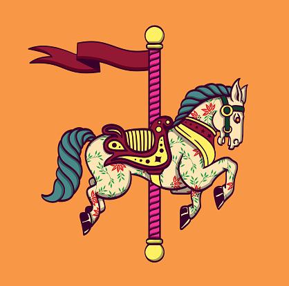 Cartoon carousel merry-go-round horse, funfair carnival pony