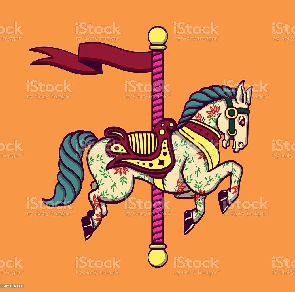 Cartoon carousel merry-go-round horse, funfair carnival pony vector art illustration