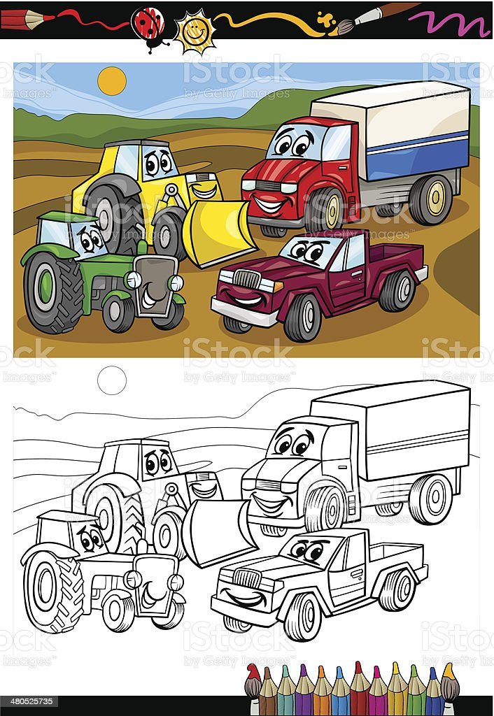 - Cartoon Cars And Trucks For Coloring Book Stock Illustration - Download  Image Now - IStock