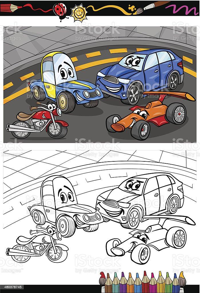 ilustração de carros dos desenhos animados para colorir livro e mais
