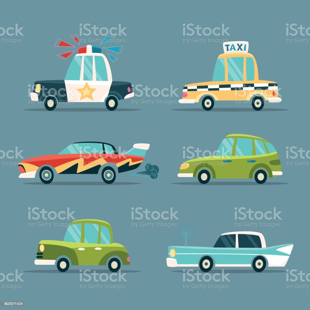 Cartoon Cars. vector art illustration