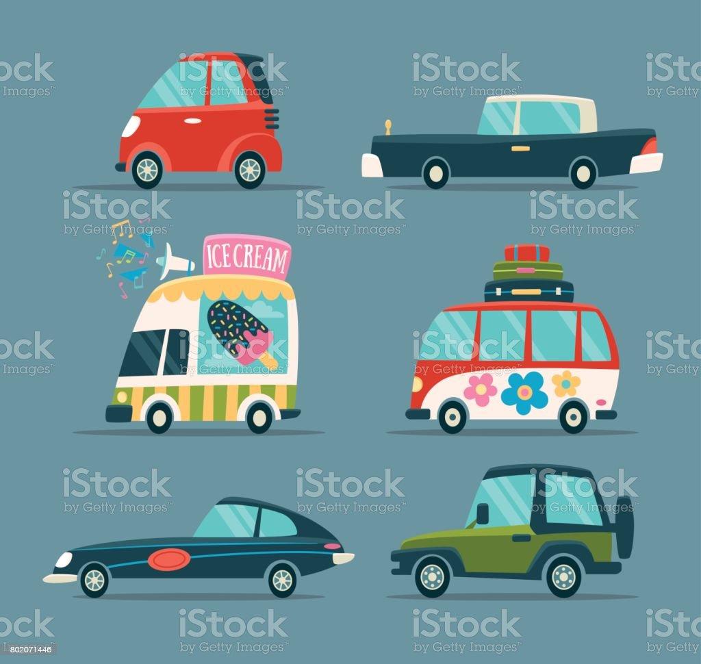 Cartoon Cars vector art illustration