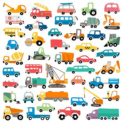 Cartoon cars vector illustration set