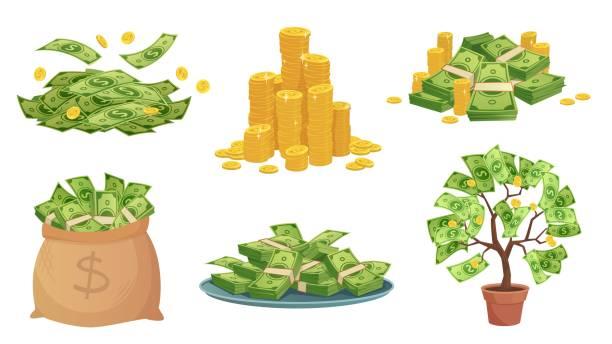 卡通現金。綠元鈔票堆,豐富的金幣和支付。現金袋,託盤與鈔票和錢樹向量插圖集 - money 幅插畫檔、美工圖案、卡通及圖標