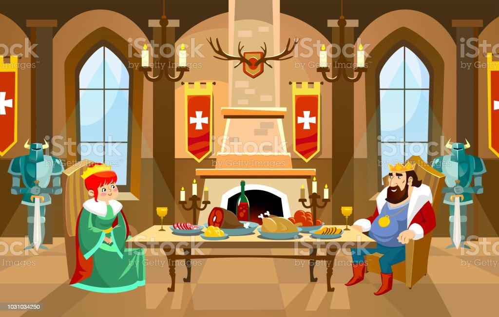 Ilustración De Sala Castillo De Dibujos Animados Con El Rey Y La
