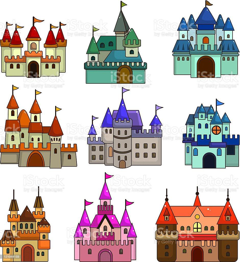 cartoon castle icon set royalty-free stock vector art