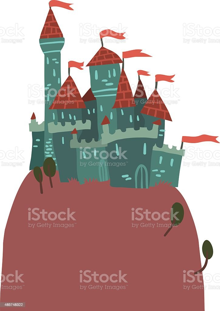 Cartoon Castle on a Hill flat icon. vector art illustration