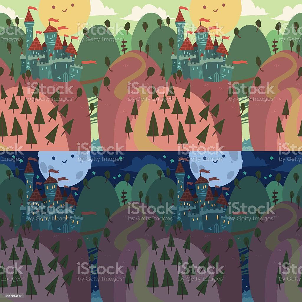 Cartoon Castle on a Hill. vector art illustration