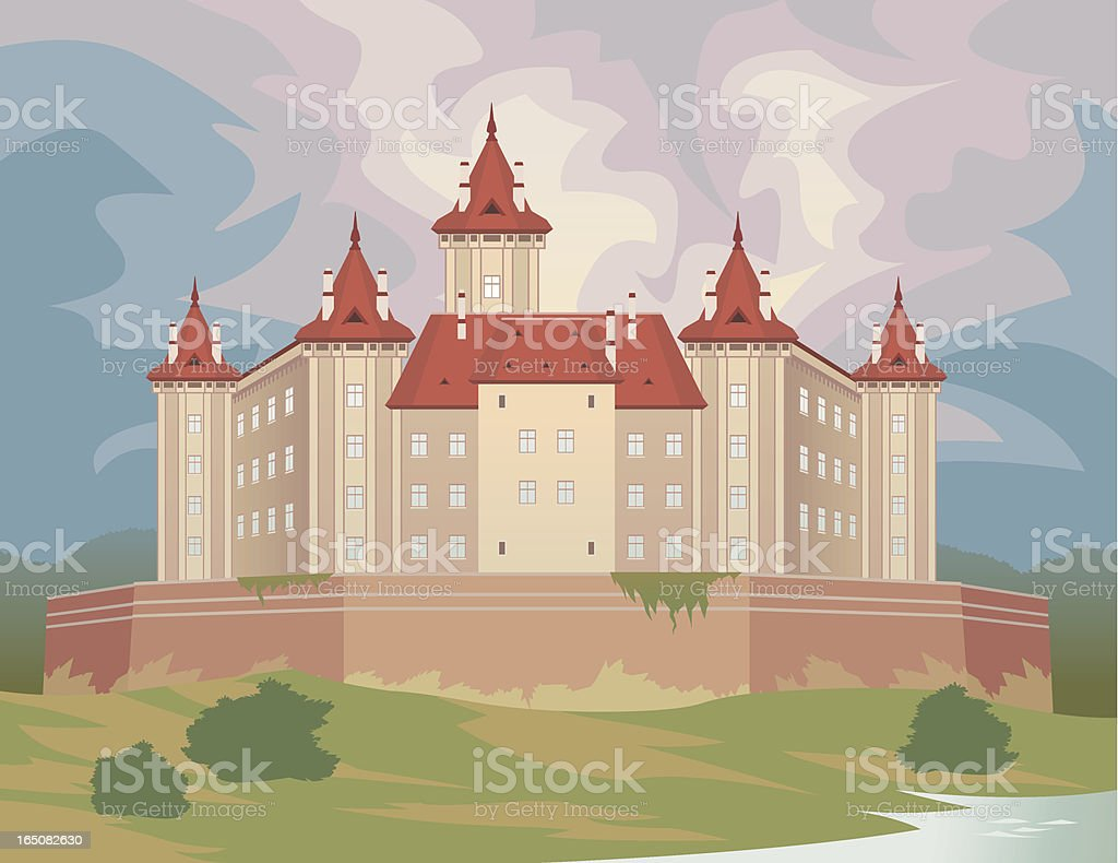 Cartoon Castle or Chateau High Above Land royalty-free stock vector art
