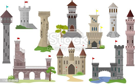 Cartoon castle vector fairytale medieval tower of fantasy palace building in kingdom fairyland illustration set of historical fairy-tale house isolated on white background.