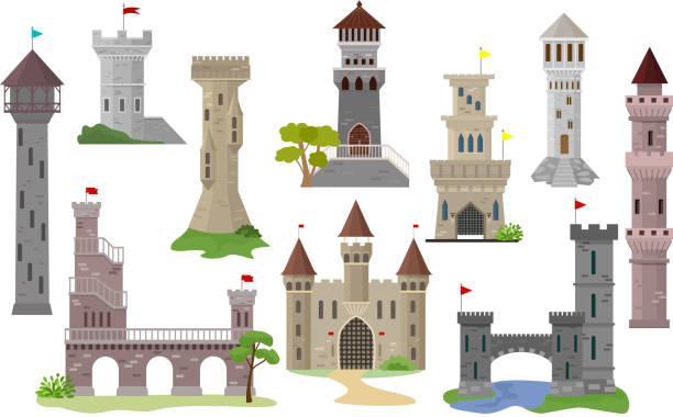 ilustrações de stock, clip art, desenhos animados e ícones de cartoon castle vector fairytale medieval tower of fantasy palace building in kingdom fairyland illustration set of historical fairy-tale house isolated on white background - castle