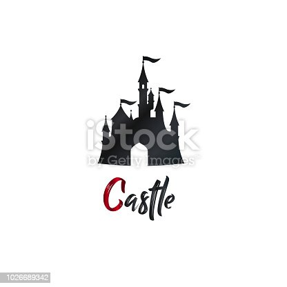 Cartoon castle logo, banner. Amazing amusement park. Vector illustration. Brush hand lettering.
