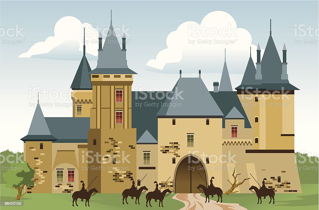 Cartoon Castle with People and Horses Outside
