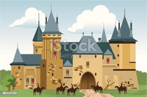 Castle with knights. EPS, AI and JPG(3333x2198px) icluded.