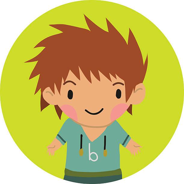 Cartoon casual little boy kid flat icon. vector art illustration