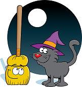 Cartoon cat and a broom stick.