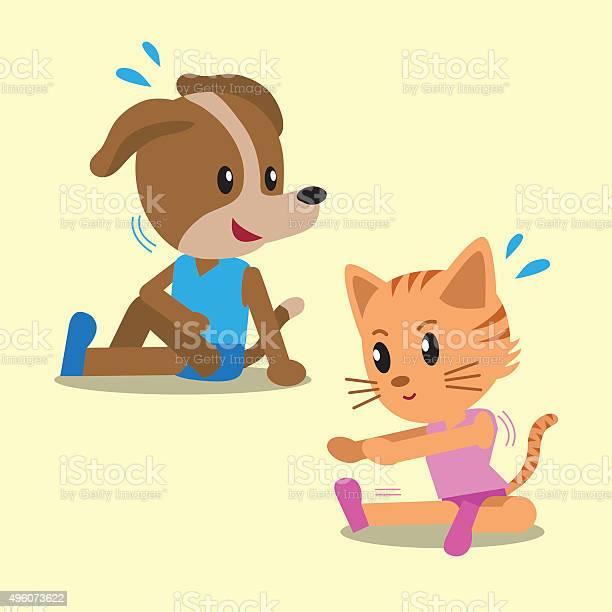 Cartoon cat and dog doing exercise vector id496073622?b=1&k=6&m=496073622&s=612x612&h=x3eukpeo9v xoahfeivxip1waovpiowf4ql9q4t6niu=
