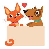 Cartoon Cat And Dog Friendship Vector. Best Friends.