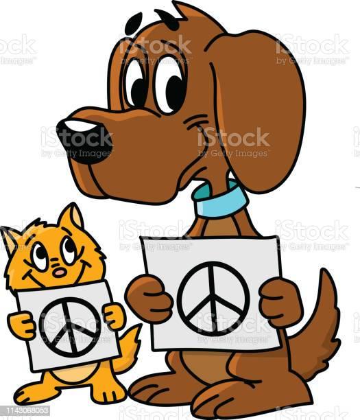Cartoon cat and dog holding cards with peace symbols on vector vector id1143068053?b=1&k=6&m=1143068053&s=612x612&h=jz9pfum84ln31yt cksfnteb451m8xwjac4ztklbocq=