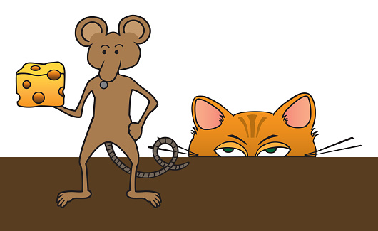 Cartoon Cat and Mouse