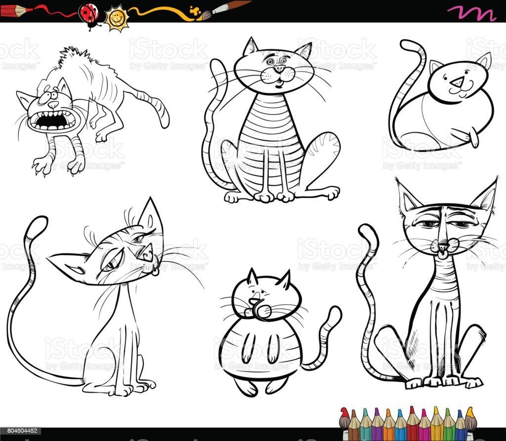 Kedi çizgi Film Karakterleri Boyama Kitabı Stok Vektör Sanatı