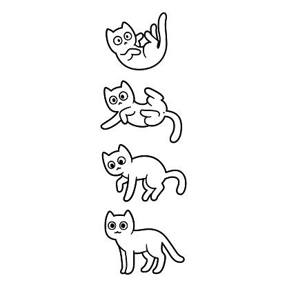 Gato de desenho animado caindo