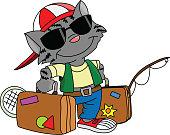 Cartoon cat going on a summer vacation vector illustration